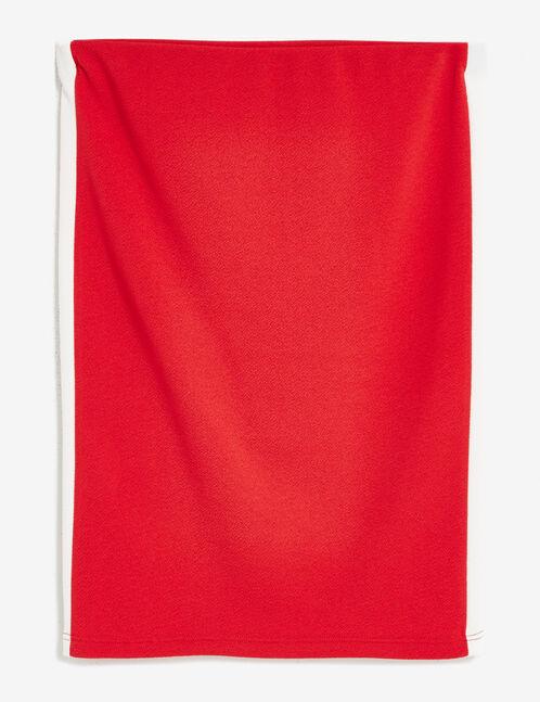 jupe tube texturée rouge