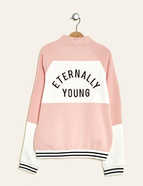 "Light pink and white ""eternally young"" zipped sweatshirt"