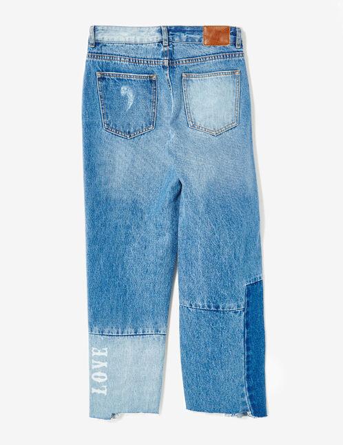 Medium blue patchwork-effect jeans