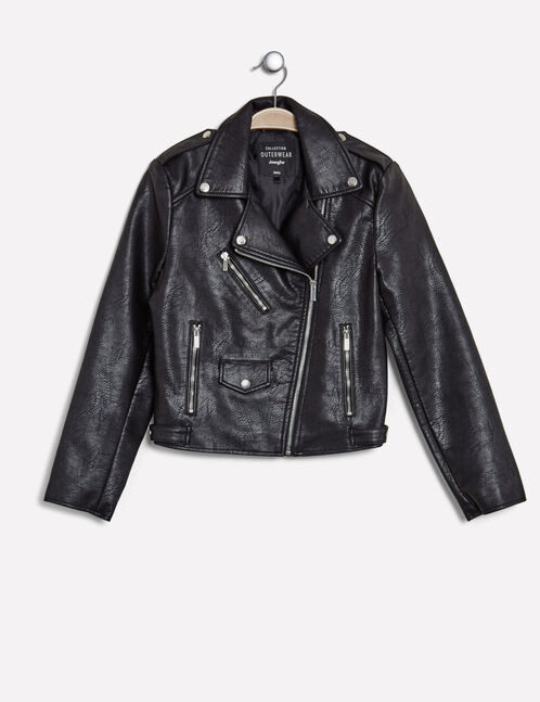 Black biker jacket with zip detail