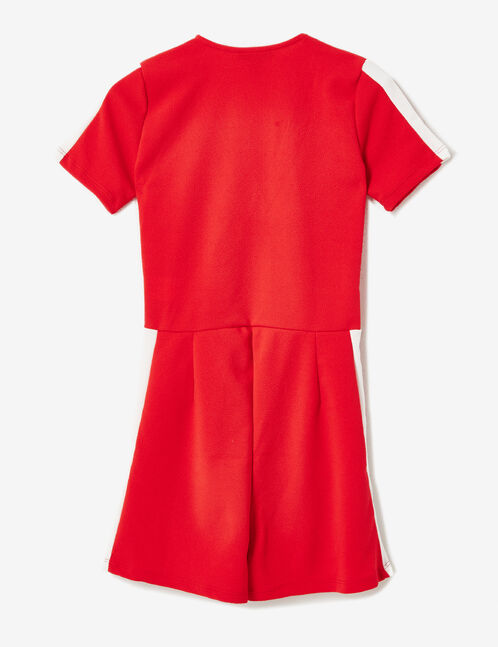 combishort rayures blanches rouge