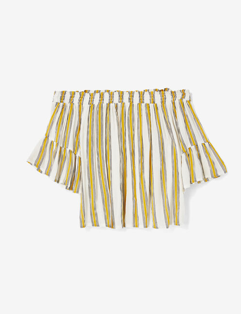 Cream, yellow and black striped off-the-shoulder blouse