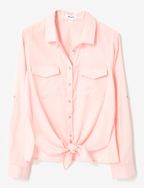 Light pink tie-fastening shirt