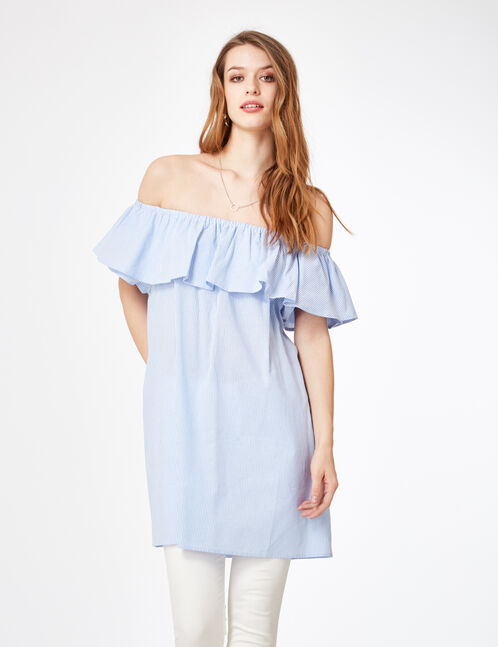 Light blue and white off-the-shoulder striped dress