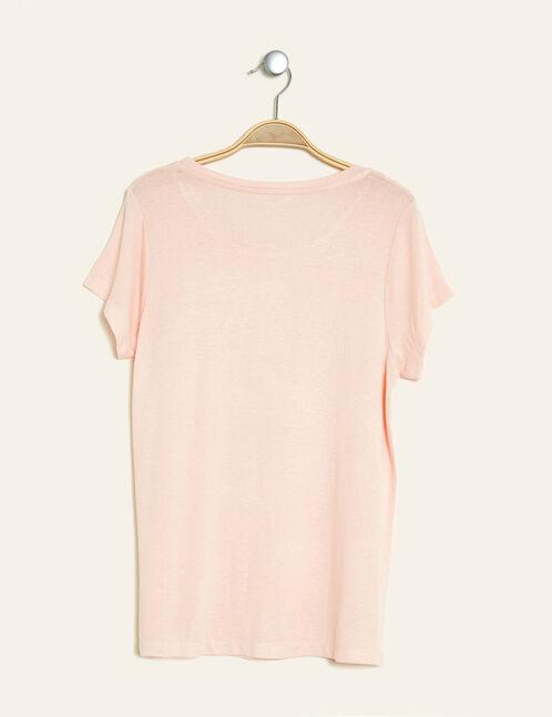 tee-shirt imprimé brillant rose clair