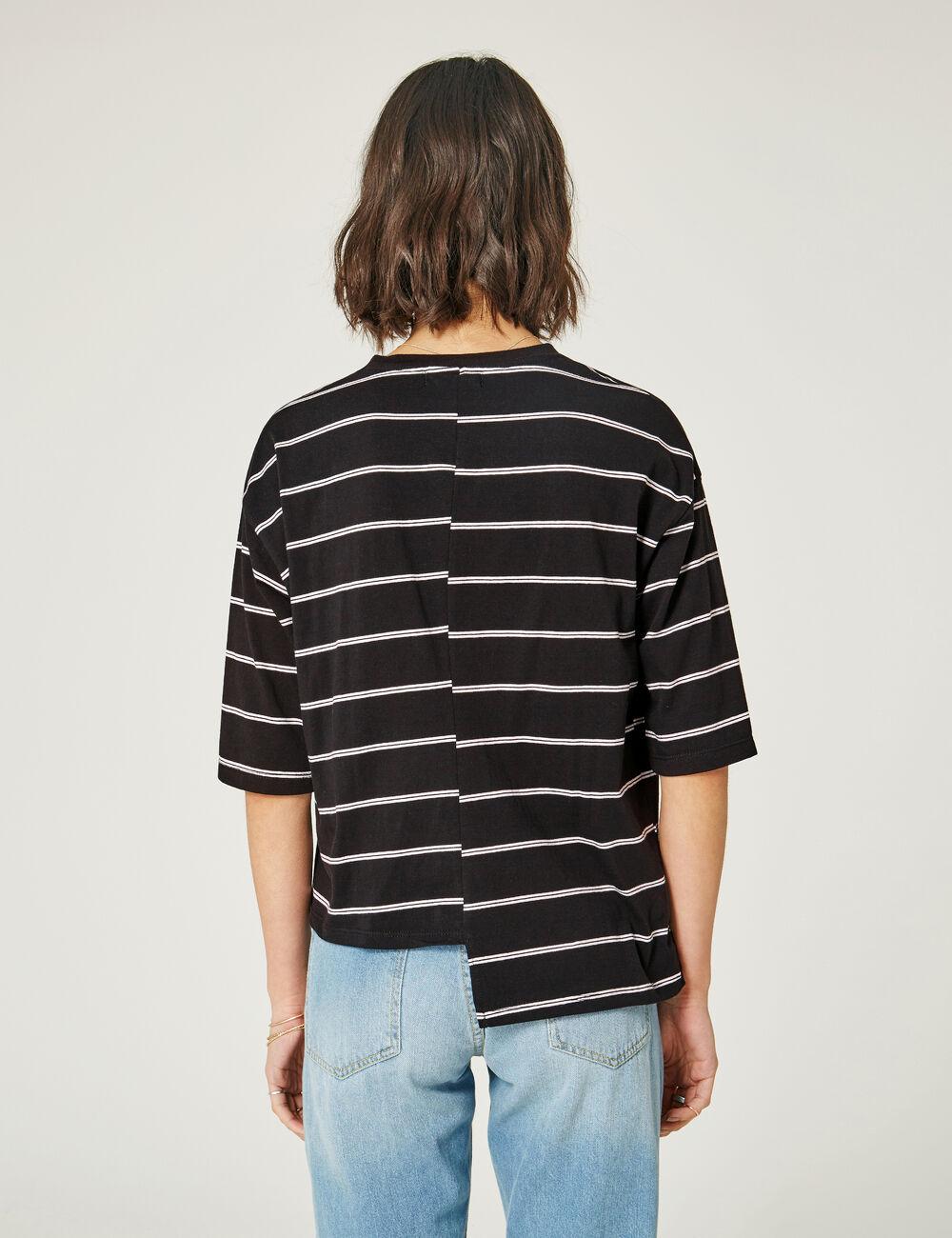 tee shirt asym trique ray noir et blanc femme jennyfer. Black Bedroom Furniture Sets. Home Design Ideas