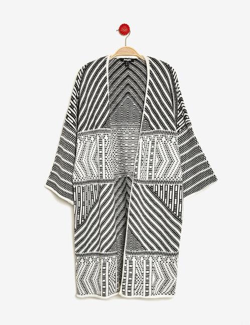 Black and white long geometric pattern cardigan