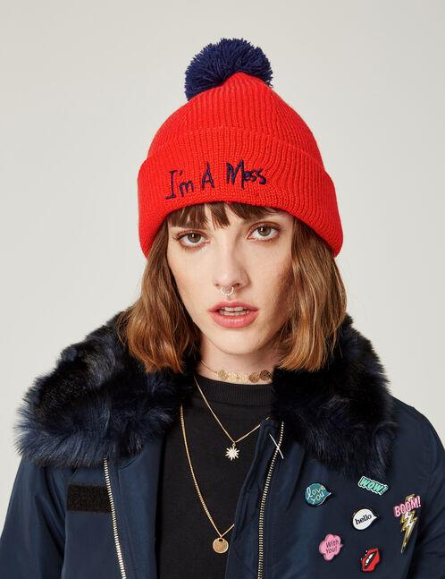 bonnet à message rouge et bleu marine