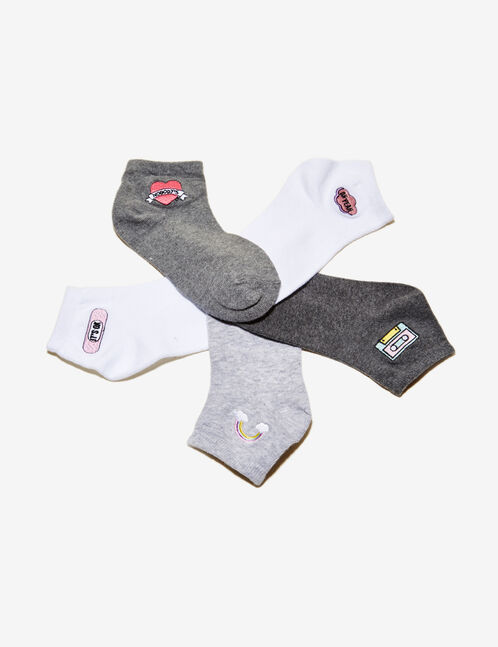Grey and white embroidered socks