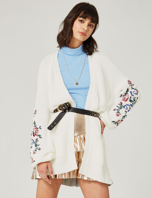 Long cream embroidered cardigan