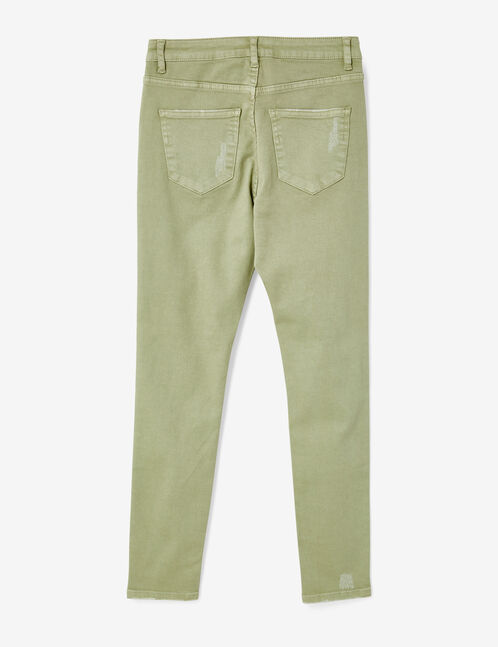 Light green distressed skinny jeans