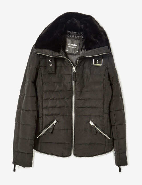 Black padded jacket with zip detail