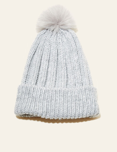 Grey beanie with pompom
