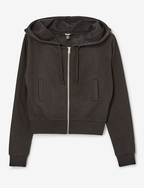 Cropped black zip-up hoodie