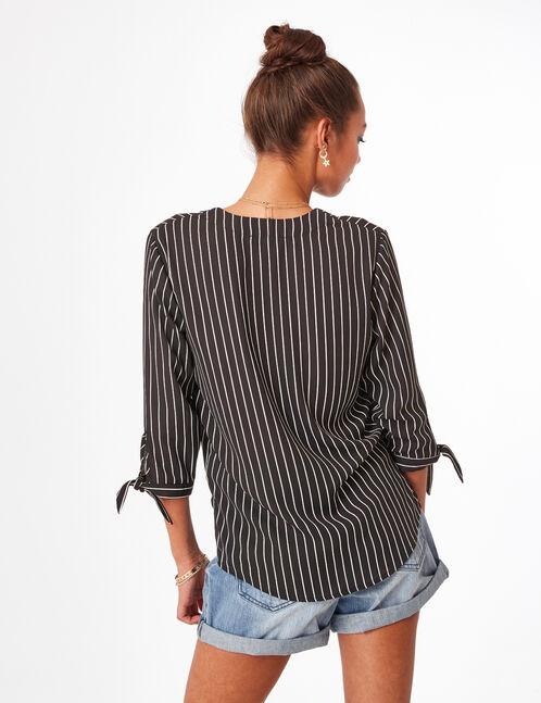 Black and cream striped deep-V shirt