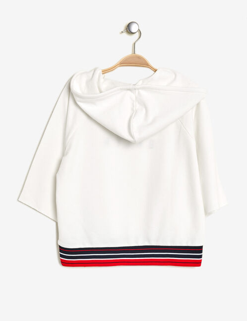 Cream embroidered hoodie