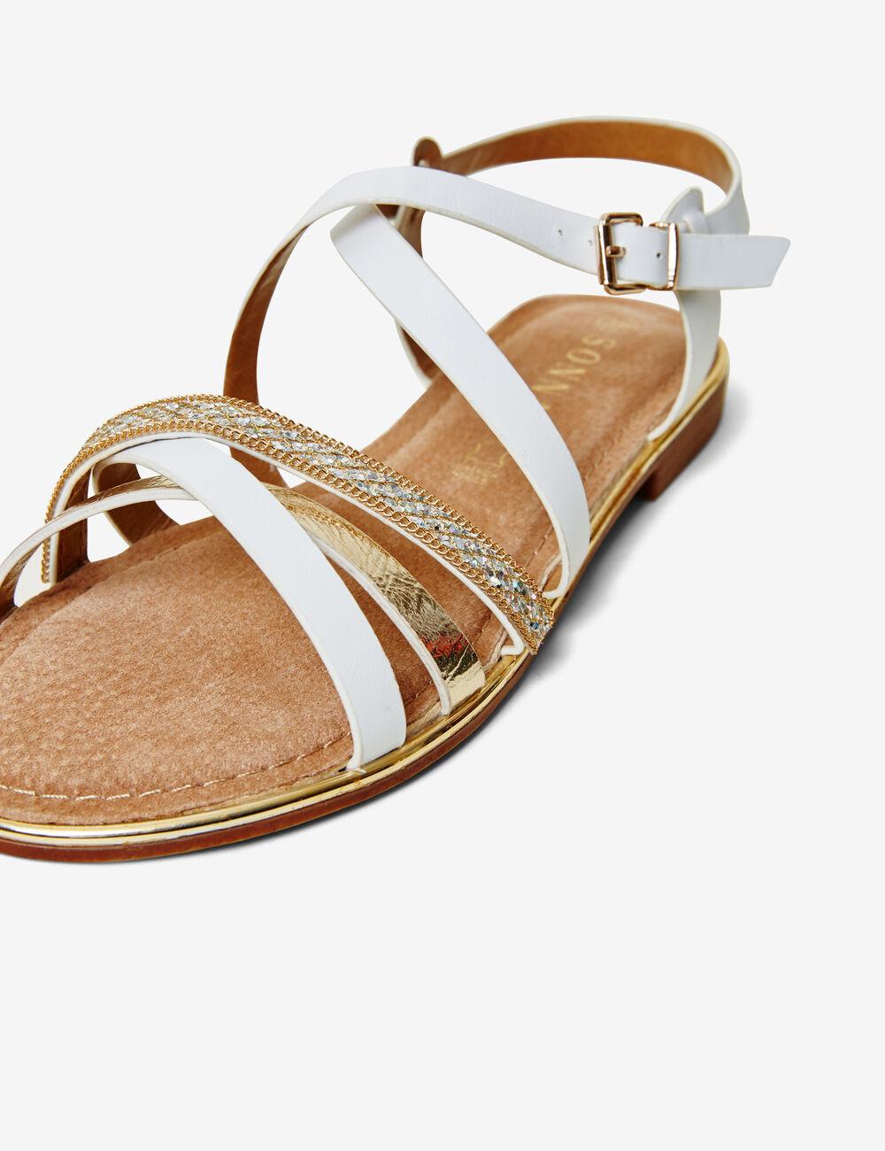 sandales avec liens blanches et dor es femme jennyfer. Black Bedroom Furniture Sets. Home Design Ideas