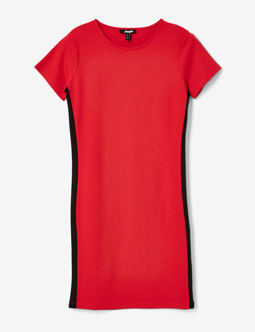 Red dress with side stripe detail