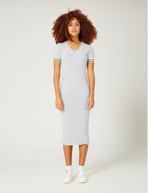 Grey marl ribbed maxi dress