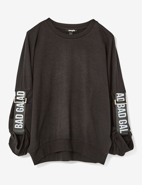 Black sweatshirt with strap and text design details