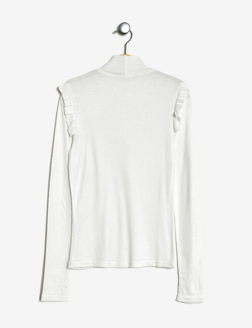 Ribbed T-shirt with cream frills