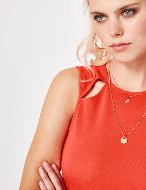 robe ajustée avec ouvertures rouge