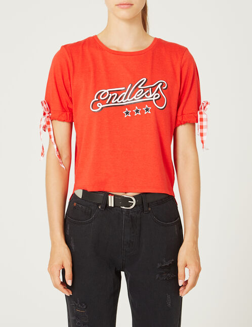 Red T-shirt with gingham tie detail
