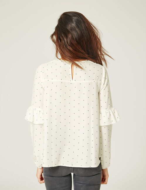 blouse à pois écrue