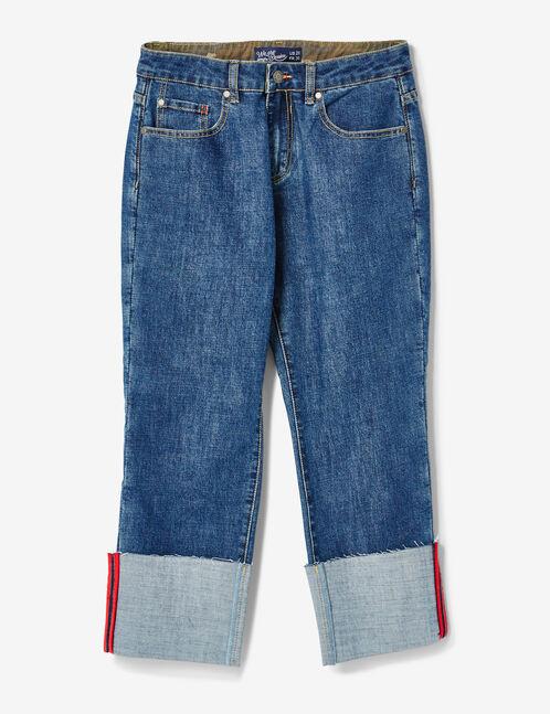 Medium blue straight-leg jeans with turn-up hems