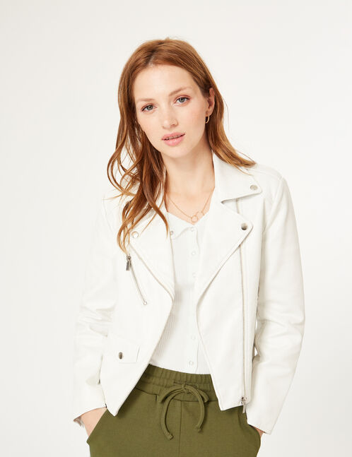 White biker jacket with decorative zip detail