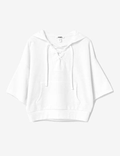 White hoodie with lacing detail