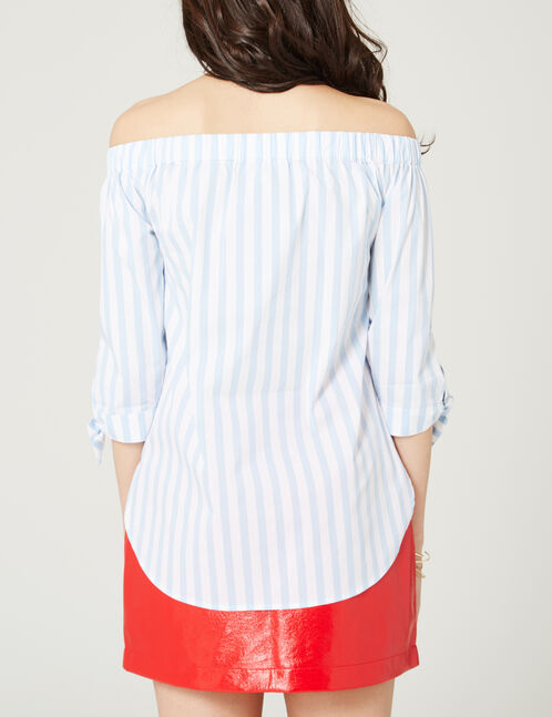 Blue and white striped off-the-shoulder blouse