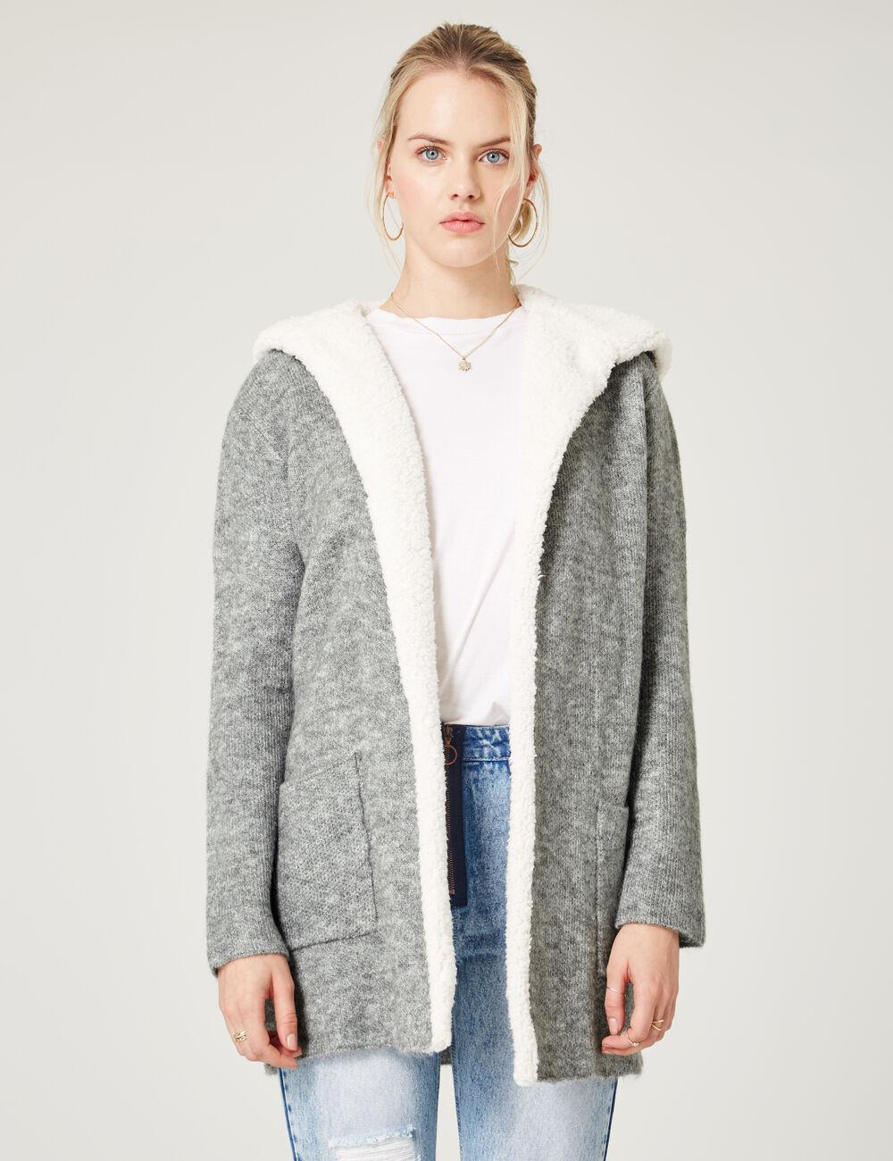 Long grey marl hooded cardigan woman • Jennyfer