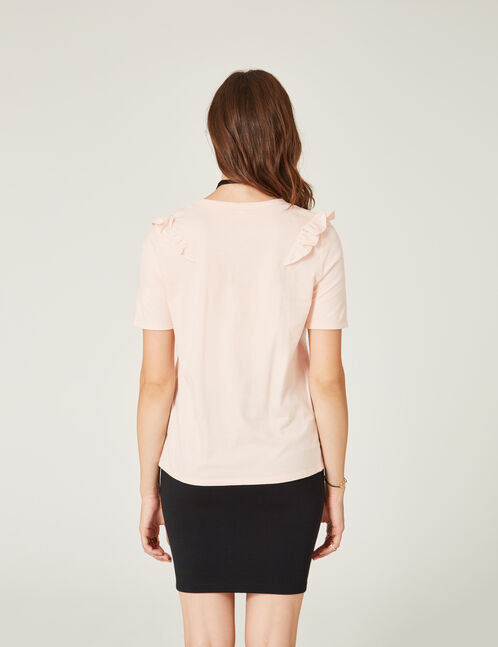 Light pink mixed fabric T-shirt