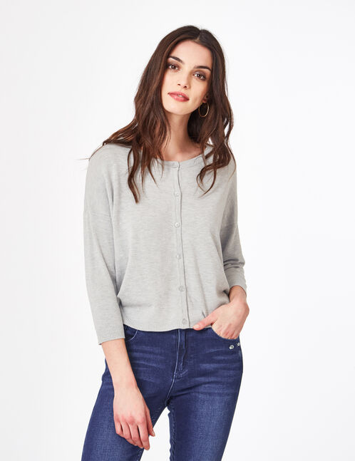 Grey marl cardigan with 3/4-length sleeves