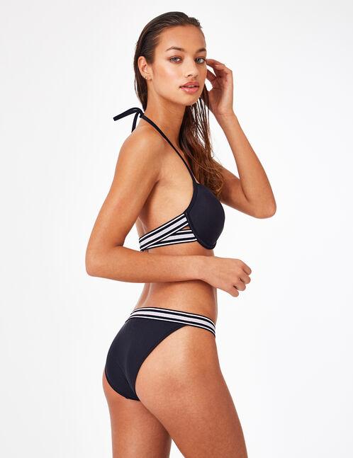 Black bikini top with striped detail
