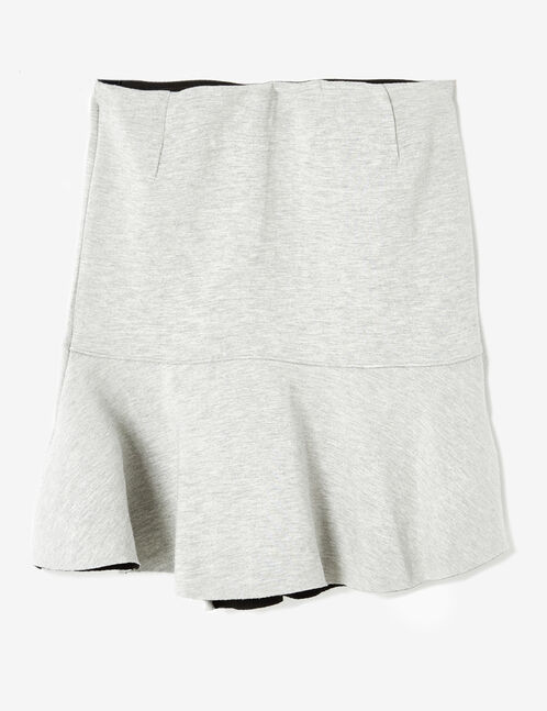 Grey marl skirt with frill detail