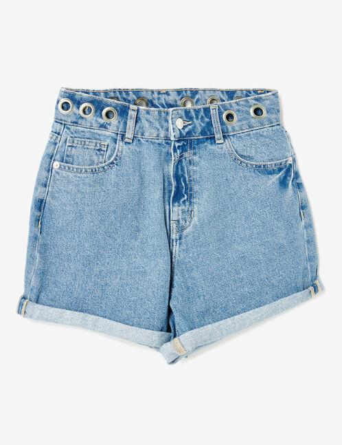 Light blue denim shorts with eyelet detail