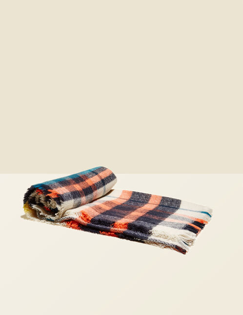 Cream and multicolour checked scarf