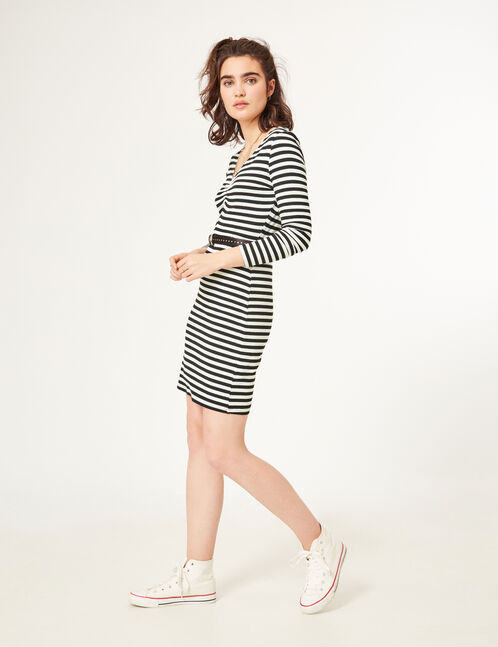 Black and white striped dress with ruched detail
