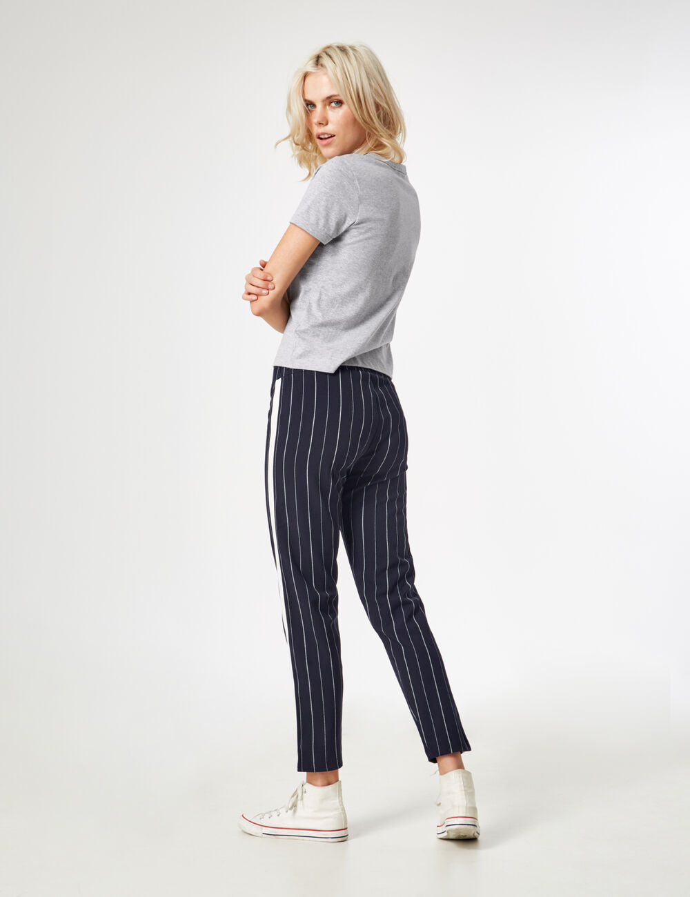 Navy pinstripe trousers Navy pinstripe trousers