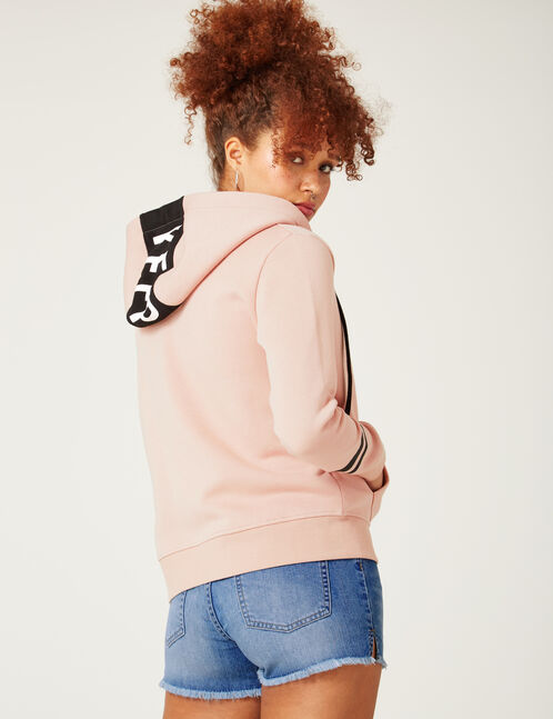 "Pale pink ""keep track"" zipped hoodie"