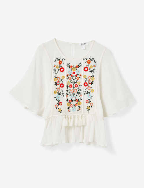 Cream blouse with embroidery and tassel details