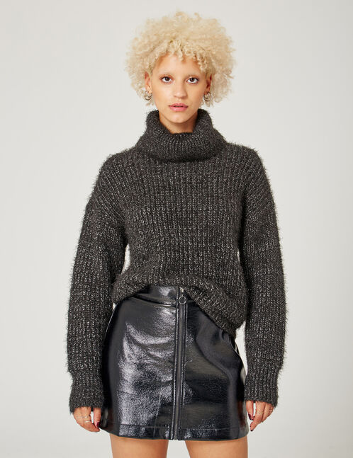 Black mohair-effect jumper with lurex detail