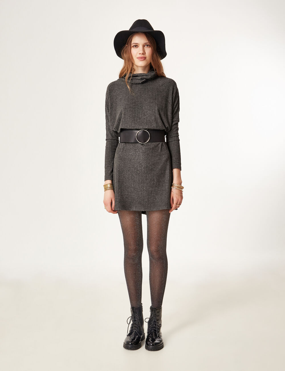 robe pull gris anthracite chin femme jennyfer. Black Bedroom Furniture Sets. Home Design Ideas