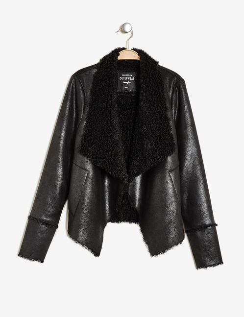 Sparkly black open-front lined jacket
