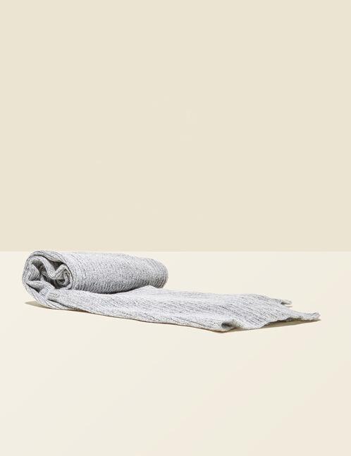 écharpe côtelée gris chiné
