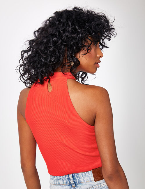 Red crop top with lacing detail