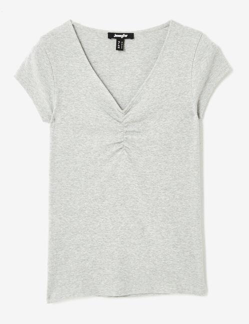 tee-shirt col v et fronces gris chiné