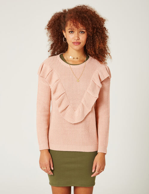 Light pink jumper with frill detail